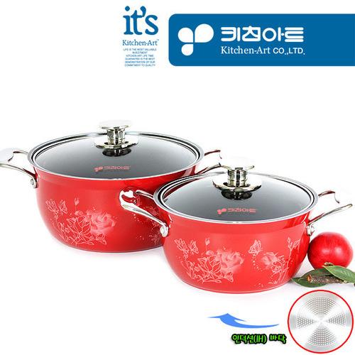 키친아트 로자스 인덕션 펄세라믹코팅 칼라냄비(사은품) 2종A(20양+24양)